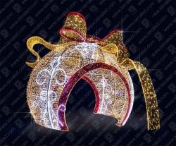 """Светодиодная 3D-фигура """"Елочный шар - арка с бантом"""""""