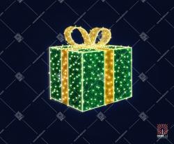 """Светодиодная 3D-фигура """"Новогодний подарок зеленый"""""""