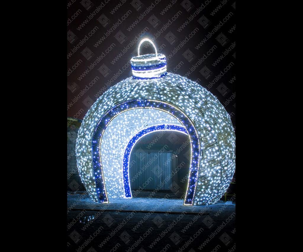 Светодиодная 3D-фигура Елочный шар - арка