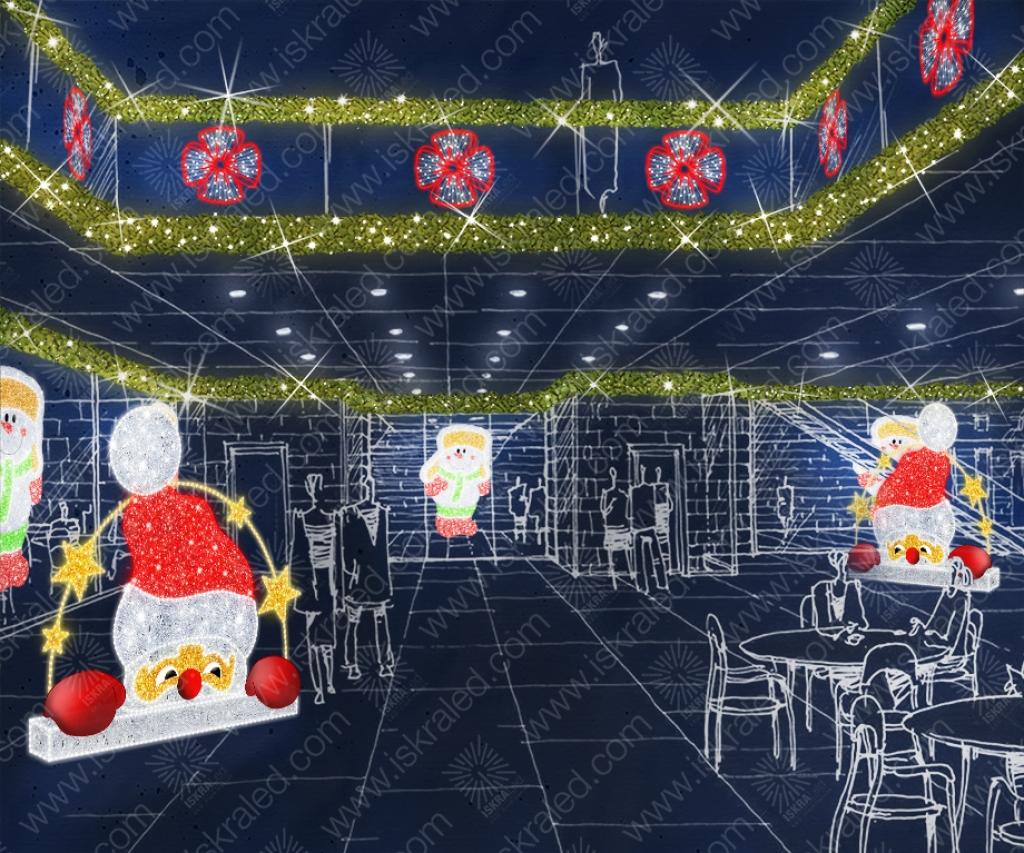 Светодиодная 2D-фигура Выглядывающий Санта