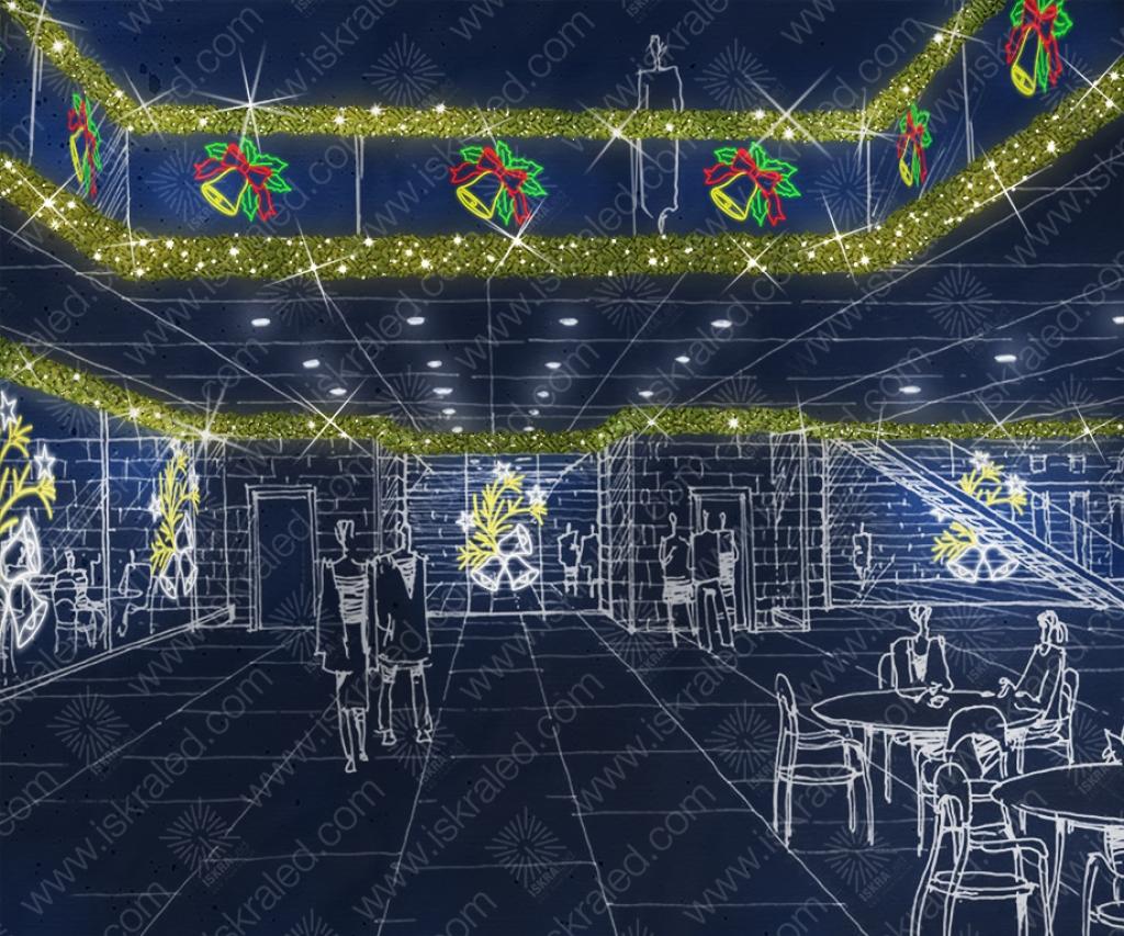 Светодиодная 2D-фигура Рождественский колокольчик
